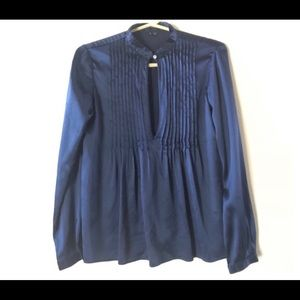 Theory Bianca Silk Pleated Keyhole Top S Navy